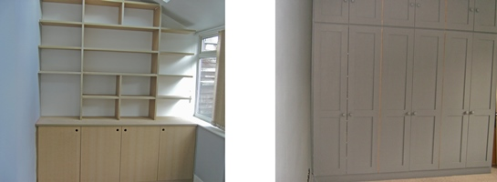 Bedroom fitted shelving cupboard and wardrobe